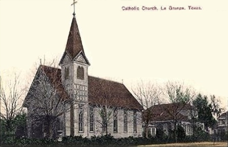 Postcard of La Grange Catholic Church, 1910